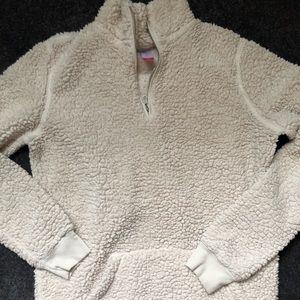Very trendy right now! Teddy Half zip sweater